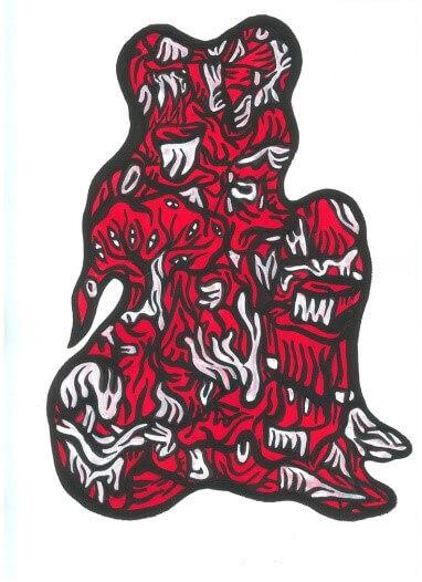 Fabien Verschaere, Red Fish, 2019, acrylique sur papier Velin d'ARCHES®, 42x29.7 cm