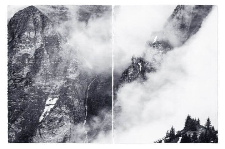 "LAND OF THE GODS 2018 Palladium on ARCHES® Platine, diptych 114x77cm (44x30""), each sheet 57x77cm (22x30"")"